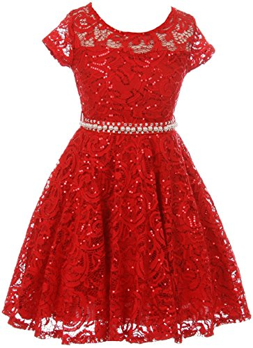 Big Girls Cap Sleeve Glitter Lace Pearl Holiday Junior Bridesmaid Flower Girl Dress USA Red 12 (2J1K0S2)