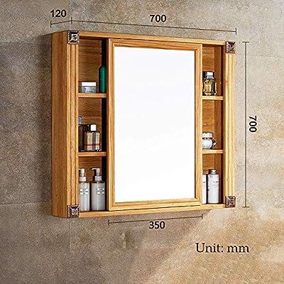 Puertas corredizas Espejos de baño con repisa, Espejo de maquillaje de aluminio de American Space, Espejo de gabinete de madera para sala de estar, Baño, Dormitorio,70x70x12cm: Amazon.es: Hogar