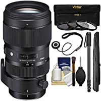 Sigma 50-100mm f/1.8 Art DC HSM Zoom Lens with 3 Filters + Monopod + Kit for Canon EOS Digital SLR Cameras