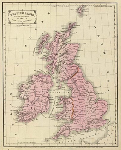 1864 School Atlas | British Isles. Designed to accompany Cornell's High school geography. | Antique Vintage Map Reprint - Cornell 1864 Antique Map
