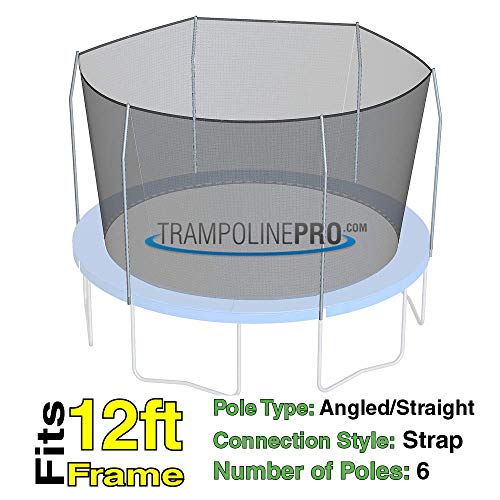 (Trampoline Replacement Nets with Straps | Sizes 12 ft - 14 ft - 15 ft | Net Only | Poles Not Included (12 ft Net w/Straps for 6 Poles))