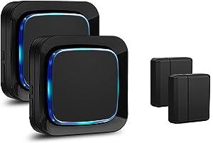 Door Sensor Alarm System Wireless for Home Security, Coolqiya Entry Chime Alert 600FT Operating Range, 2 Door Sensors + 2 Plug-in Receivers