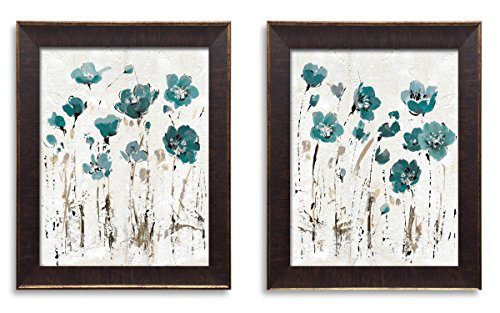 (Gango Home Décor Beautiful Teal and Brown Watercolor-Style Floral Print Set; Two 11x14in Gold Trim Brown Framed Prints; Ready to Hang!)