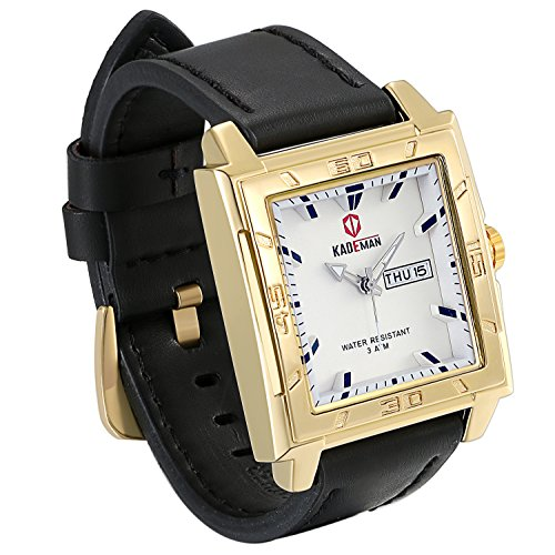 Face Casual Square Watch - JewelryWe Classic Men's Japan Analog Quartz Square Wrist Watch Business Casual Leather Dress Band Sport Watches Waterproof