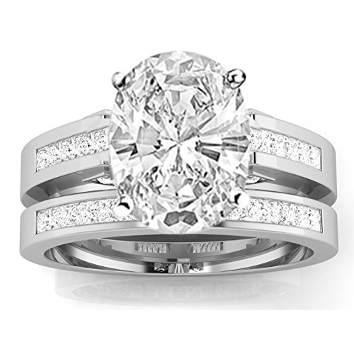 2.45 Carat t.w. 14k White Gold Channel Set Princess Cut Diamond Engagement Ring with a 2 Ct Forever Classic Oval Moissanite Center