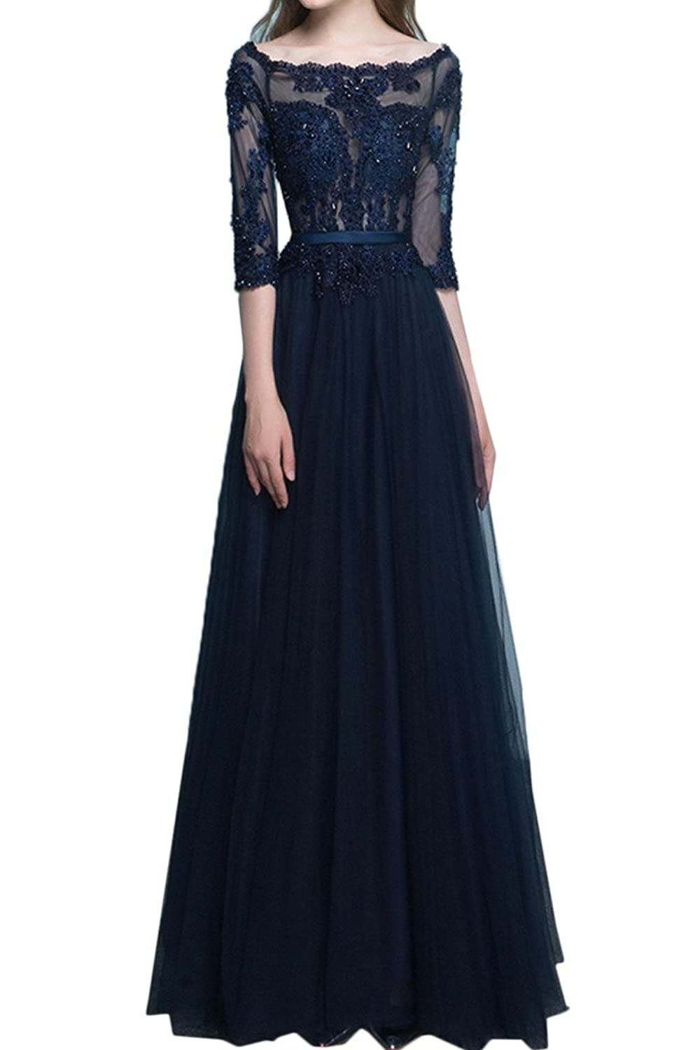 Gorgeous Bride A-line half Sleeves Lace Evening Mother of the Bride Dresses