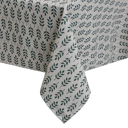 Sense Gnosis Tablecloth Faux Linen 55 Inch Round for Square table Waterproof Oil-proof Spill-proof Stain Resistant Table Cover Square Kitchen Dining Tables Print Tabletop Decoration
