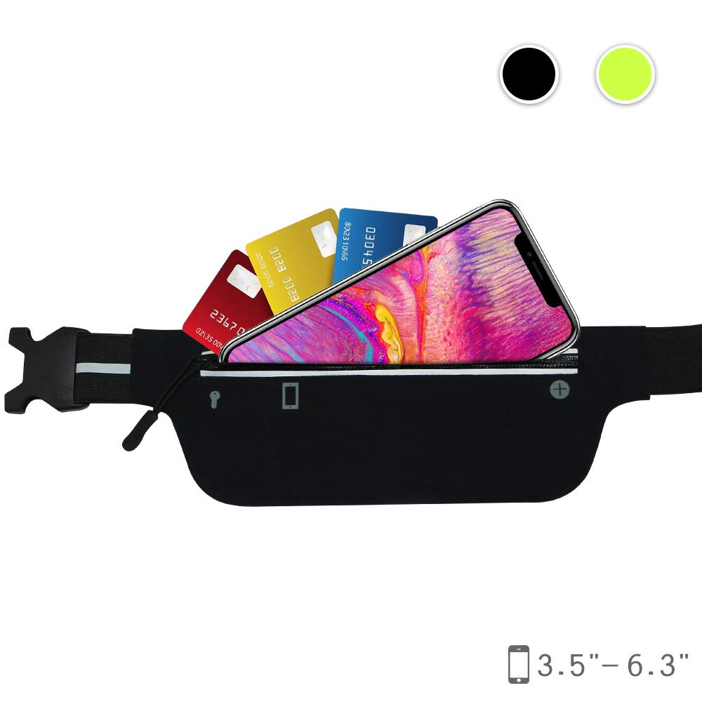 Waist Pack Fanny Pack Bum Bag Hip Pack Running Bag Waist Bag Running Belt Sack Water Resistant with Bottle Not Included Holder for Hiking Camping Dog Walking nylon fabric multicolored – by LC Prime