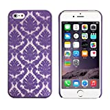 Roodfox Carved Fashion Vintage Damask Pattern Matte Hard Case Cover For IPhone 5 5S(Purple)