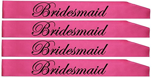 Gemich Bridal party sashes, bridesmaids sash w/bonus bride tribe tattoos(8 count) pink, team bride sahes for bachelorette party, bridal showers and hen party favors.