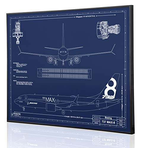 Boeing 737 MAX-8 Blueprint Artwork-Laser Marked & Personalized-The Perfect Pilot Gifts