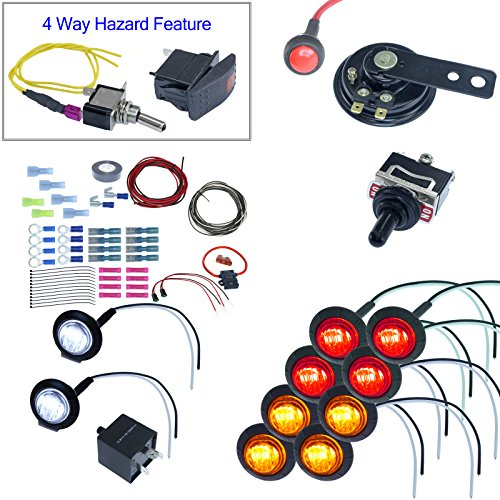 4 Way Flashers - ATV/UTV Turn Signal Kit with Horn and 4 way 8 LEDs (With Wire, Round LED)