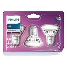 Philips pack 3 focos LED, casquillo GU10, 5 W equivalentes a 50 W en incandescencia, 440 lúmenes, luz blanca fría