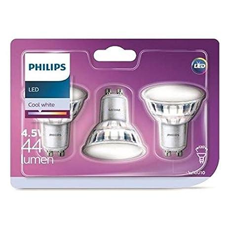 Philips pack 3 focos LED, casquillo GU10, 5 W equivalentes a 50 W en incandescencia, 380 lúmenes, luz blanca fría
