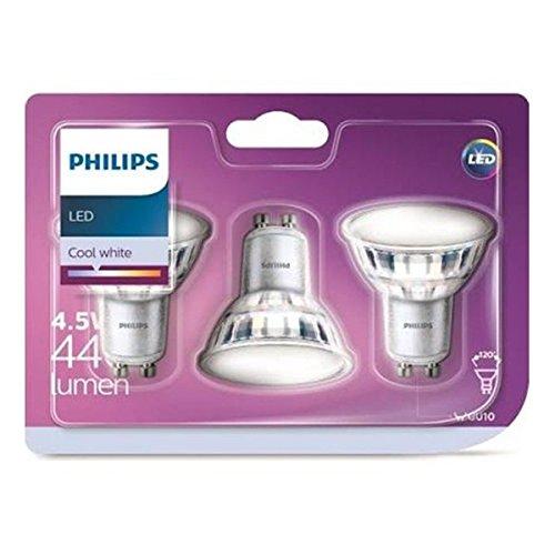 Philips pack 3 focos LED, casquillo GU10, 5 W equivalentes a 50 W en incandescencia, 380 lúmenes, luz blanca fría: Amazon.es: Iluminación