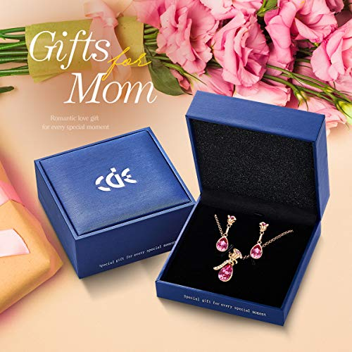 CDE Rose Flower Jewelry Set for Women Hypoallergenic 18K Rose Gold /White Gold Plated Ladies Necklace Embellished with… 4