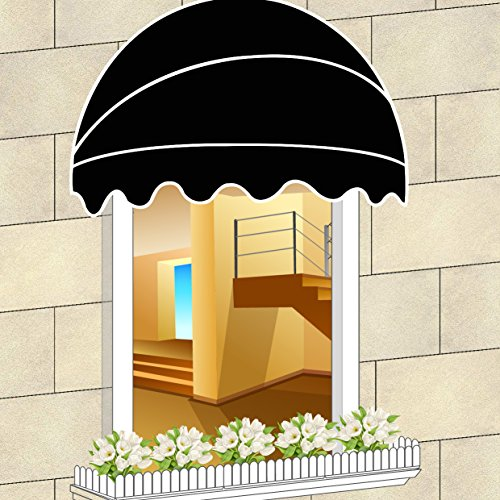Shatex Black 6'x2.95'Waterproof Retractable Watermelon Shape French Window Awning Door & Window Awning Outdoor Window Canopy Decoration by Shatex (Image #2)