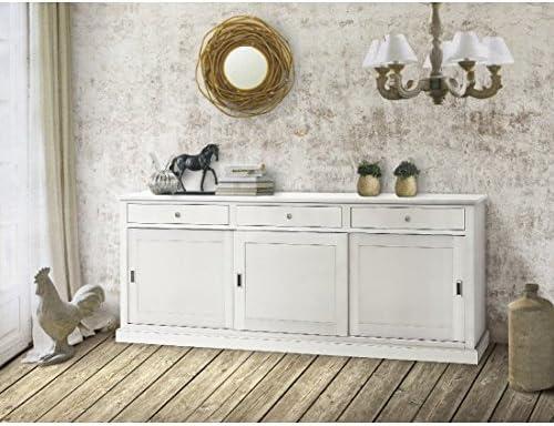 Estea Mobili - Aparador de madera, color blanco mate, puertas ...