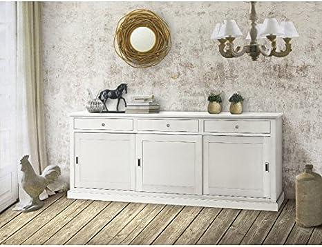 Estea Mobili - Aparador de madera, color blanco mate, puertas correderas - 719tem: Amazon.es: Hogar