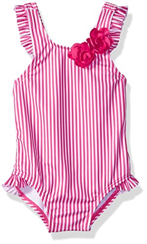Gymboree Baby Boys 1-Piece Stripe Swimsuit with Bow Accent, Fuchsia, 6-12 Mo