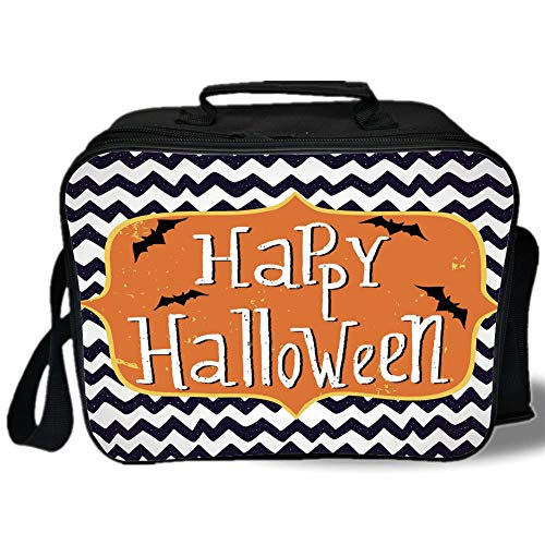 Insulated Lunch Bag,Halloween,Cute Halloween Greeting Card Inspired Design Celebration Doodle Chevron Decorative,Indigo White Orange,for Work/School/Picnic, Grey ()