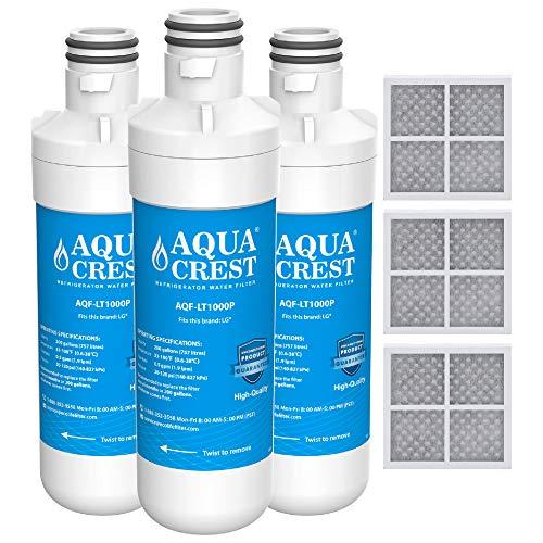 AQUACREST MDJ64844601 Refrigerator Water Filter, Compatible with LG LT1000P, LT1000PC, LT-1000PC MDJ64844601 and LT120F Combo 3 Pack (Pc Refrigerator)
