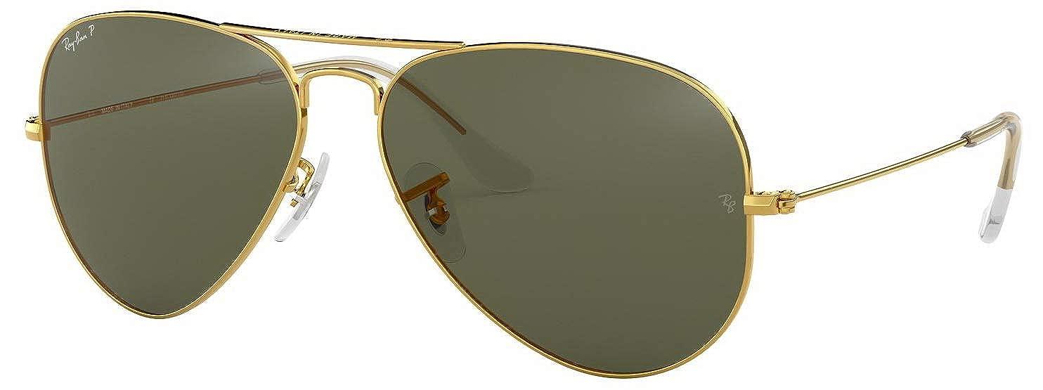 79649e344a2d Amazon.com: RAY BAN AVIATOR POLARIZED SUNGLASSES GOLD/Crystal Green LENS RB3025  001/58 58MM: Shoes