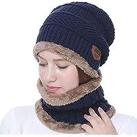 AlexVyan Original Blue 1 Set Snow Proof (Inside Fur) Unisex Woolen Beanie Cap With Scarf for Men Women Girl Boy Warm Winter Premium High Quality Soft