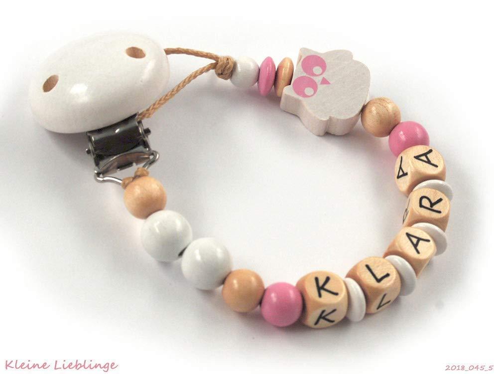 Schnullerkette mit Namen ★ pink ★ Baby ★Mädchen★ Geschenk ★ Geburt Holz Taufe