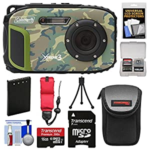 Coleman Xtreme3 C9WP Shock & Waterproof 1080p HD Digital Camera (Camo) with 16GB Card + Battery + Case + Tripod + Float Strap + Kit