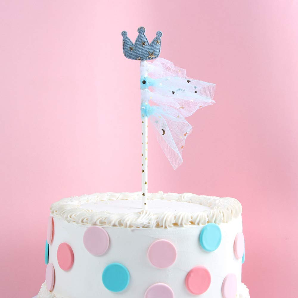 Little Star and Crown Cake Topper Twinkle Twinkle Little Star Straw for Party Cake Decorations Supplies with Lace Set of 4 Qttier