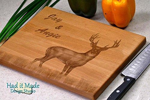 Buck Deer, Personalized Monogram Cutting Board, Engraved Cut