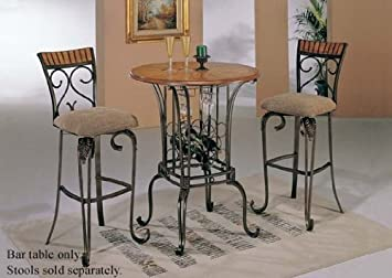 bar table with wine rack bronze u0026 oak finish