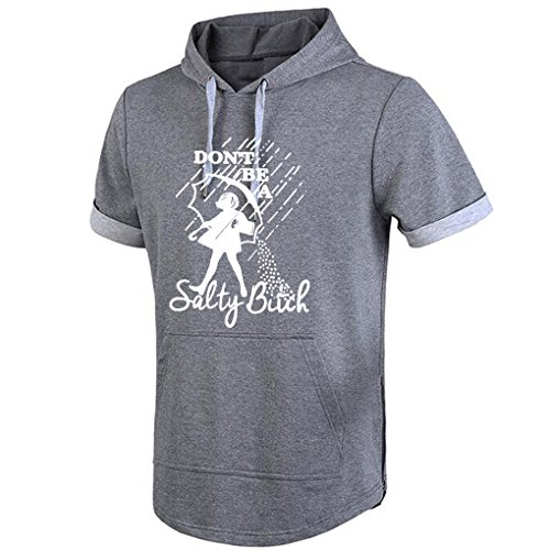 Conquershop Men's Don't Be A Salty Bitch Cute Hoodie Short Sleeve (Grey Medium)