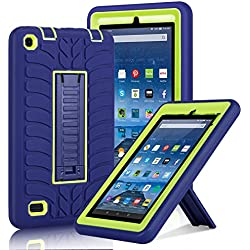 """Fire 7"""" (2015 Release) Case, Elegant Choise Heavy Duty Three Layer Armor Defender Protective Case Cover with Kickstand for Amazon Fire 7 2015 (5th Generation) Tablet (Yellow+Navy)"""