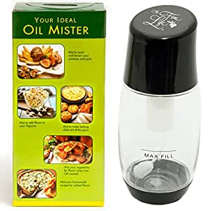 Ideal Olive Oil Mister Sprayer - Air Pressure Only Clog-Free Sprayer by The Fine Life - Black