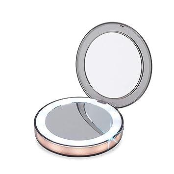 c7d2c0a65 Espejo de Bolsillo - Espejo Portátil de Maquillaje Con Aumentos 3X - Espejo  de Mano Pequeños Compacto Iluminado LED(Dorado): Amazon.es: Hogar