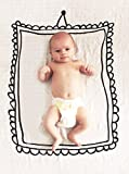 Oh, Susannah Picture Frame Baby Swaddle Blanket Soft Muslin Organic Cotton and Bamboo Photo Prop (1 47 x 47 Inch and black screen printed)