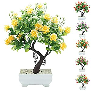 helegeSONG Fake Flowers Silk Plastic Artificial Plant 1Pc Potted Artificial Flower Tree Bonsai DIY Stage Garden Wedding Party Decor for Home,Office,Wedding,Garden, Gift, Desk, Hotel - Rose Red 2