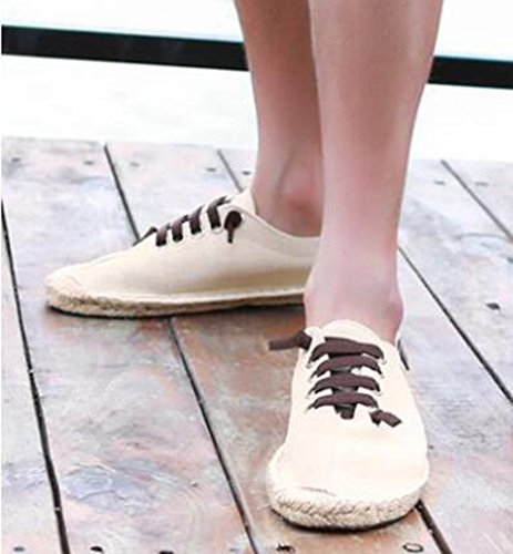 Idifu Heren Ademend Flat Lace-up Canvas Flats Espadrilles Sneakers Beige