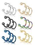 REVOLIA 18Pcs 16G 316L Stainless Steel Nose Rings Cartilage Ear Septum Piercings Helix Tragus Horseshoe 8-12mm