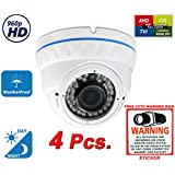 Evertech 960P 1.3MP HD Day Night Vision Manual Zoom Outdoor Indoor Dome CCTV Security Camera Compatible AHD TVI CVI and Traditional Analog DVRs with Free CCTV Warning Sign (4 pcs. 960P)