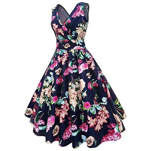 (Women Dresses Godathe Women Plus Size Floral Print Vintage Gown Sleeveless Party Prom Swing Dress)