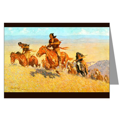 Twelve Vintage Cowboy Art Notecards of Frederick Remingtons 1909 Painting The Buffalo Runners, Big Horn Basin