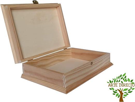 ARTE-DIRECTO Caja Madera para Decorar con Tapa | 27 x 19 x 4 cm |Cajas almacenaje para Decorar Pintar decoupage Regalo: Amazon.es: Hogar