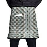 Guangzhou Card Suits Hearts Spades Diamonds Clubs Pattern Gaming Houses Addiction Apron With Pocket Half-Length Short Waist Apron