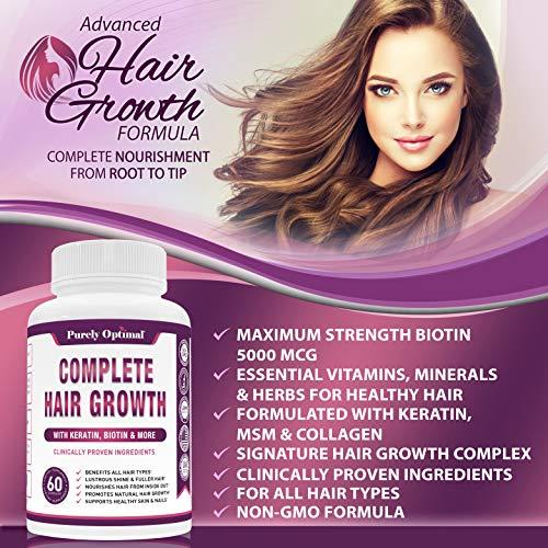 Premium Hair Growth for Women & Men - Hair Growth Vitamins w/ Biotin & Keratin - Prevents Hair Loss & Thinning, Supports Thicker Healthier Hair Growth - Supplement for All Hair Types, 60 Capsules
