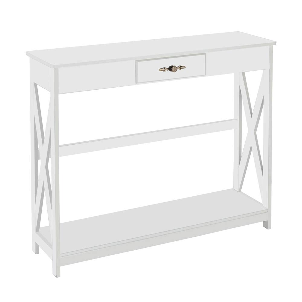 Beau Amazon.com: Bonnlo White Console Table Slim Sofa Entryway Table With Drawer  And Shelf For Hallway, Foyer, Living Room: Kitchen U0026 Dining