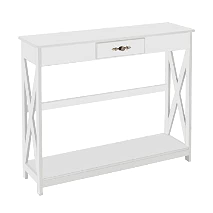 uk availability 16b82 a1a19 Bonnlo White Console Table Slim Sofa Entryway Table with Drawer and Shelf  for Hallway, Foyer, Living Room
