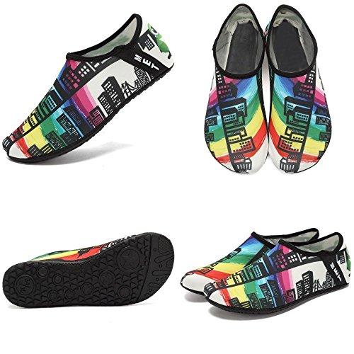 VIFUUR Wassersport Schuhe Barfuß Quick-Dry Aqua Yoga Socken Slip-On für Männer Frauen Kinder Wolkenkratzer